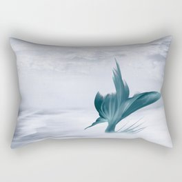 Mermaids Surfing the Ocean Waves, Teal and Gray Illustration Rectangular Pillow