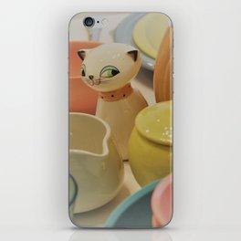 Cozy Kitten and Pastel Dinnerware iPhone Skin