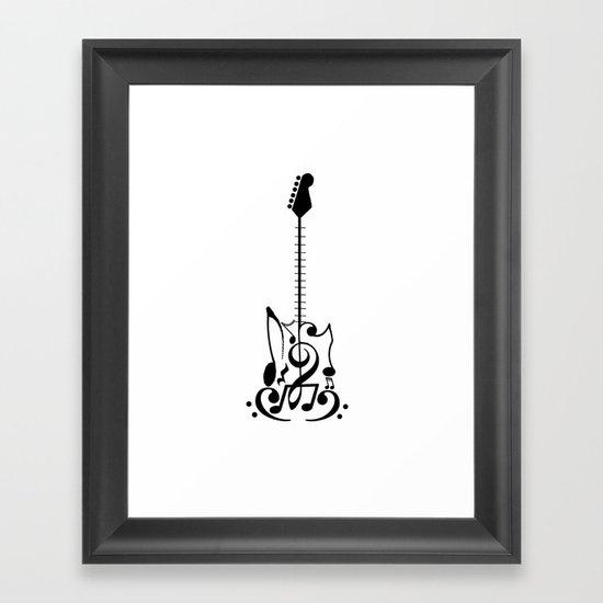 Guitar of Notes Framed Art Print