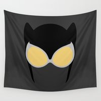 catwoman Wall Tapestries featuring Catwoman Mask by Minimalist Heroes