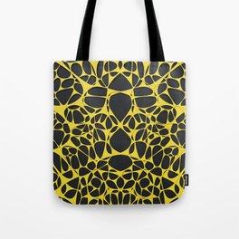 Yellow on black, organic abstraction Tote Bag
