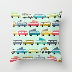 geo campers mint Throw Pillow