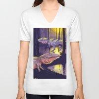 trex V-neck T-shirts featuring Giganotosaurus dinosaur by bytahsinkaya