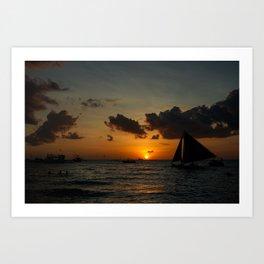 Boracay beach sunset Art Print