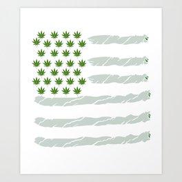 USA Weed Flag American Flag Weed T-Shirt Funny 4:20 Shirt Art Print
