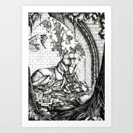 Lovers in the ruins Art Print