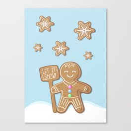 Merry Christmas Blue Poster with Gingerbread Man and Snowflakes Canvas Print