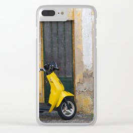 Yellow street Evora Portugal Clear iPhone Case