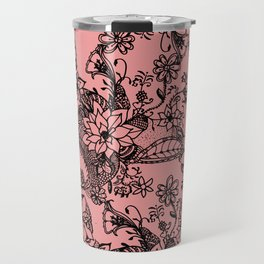 Modern hand painted coral black watercolor floral Travel Mug