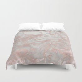 French polished rose gold marble Duvet Cover