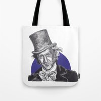 willy wonka Tote Bags featuring Willy Wonka by Rachel Morgan Kitti