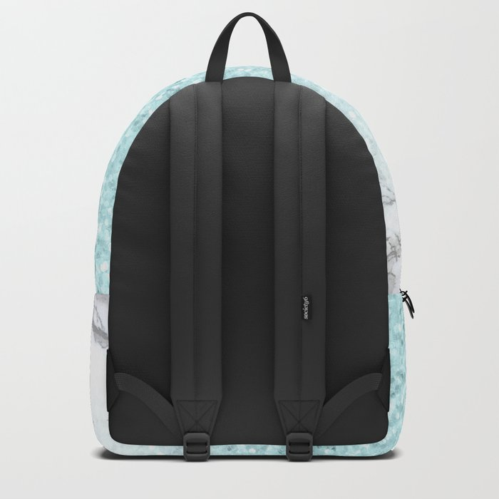 Pretty Turquoise Sparkles on Gray and White Marble Backpack