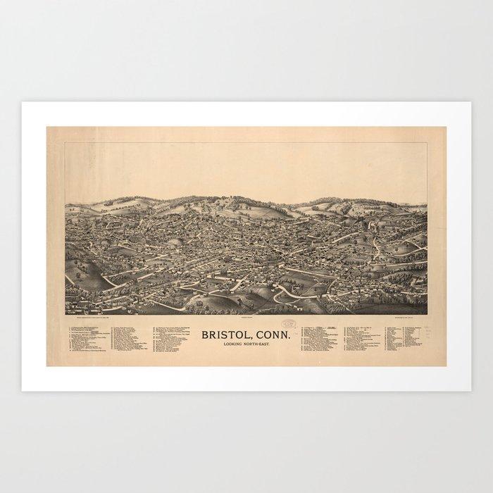 Vintage Pictorial Map of Bristol CT (1889) Art Print by bravuramedia