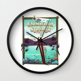 Glenwood Springs Colorado Ski poster Wall Clock