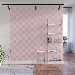 Large Light Millennial Pink Pastel Color Checkerboard Wall Mural