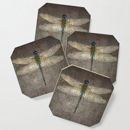 Dragonfly On Distressed Metallic Grey Background Coaster