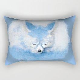 Sleeping Fennec Fox Blue Rectangular Pillow