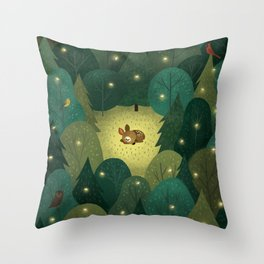 Enchanted Forest Baby Fawn Throw Pillow