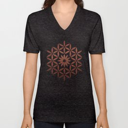The Flower of Life - Ancient copper Unisex V-Neck