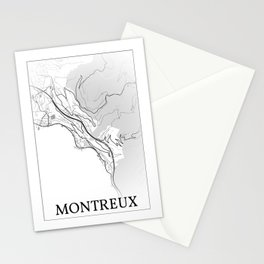 Montreux, Switzerland, city map Stationery Cards