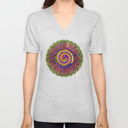 Spirals Celtic Knot Mandala Unisex V-Neck