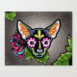 Chihuahua in Black - Day of the Dead Sugar Skull Dog Canvas Print