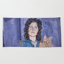In Space No One Can Hear Your Cat Beach Towel