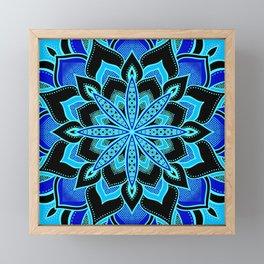 Blue on Blue Flower Mandala Framed Mini Art Print