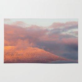 Winter Sunset Mountain Rug