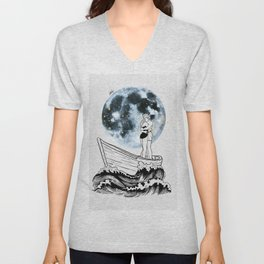 Night above the moon. Unisex V-Neck