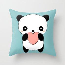 Kawaii Cute Panda Heart Throw Pillow
