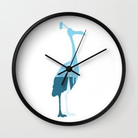 kevin russ Wall Clocks featuring Kevin! by JM Illustration