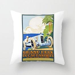 1929 Cap D'Antibes France Grand Prix Racing Poster  Throw Pillow