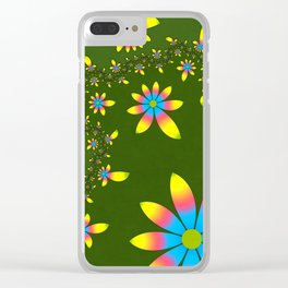Green Floral Dance Clear iPhone Case