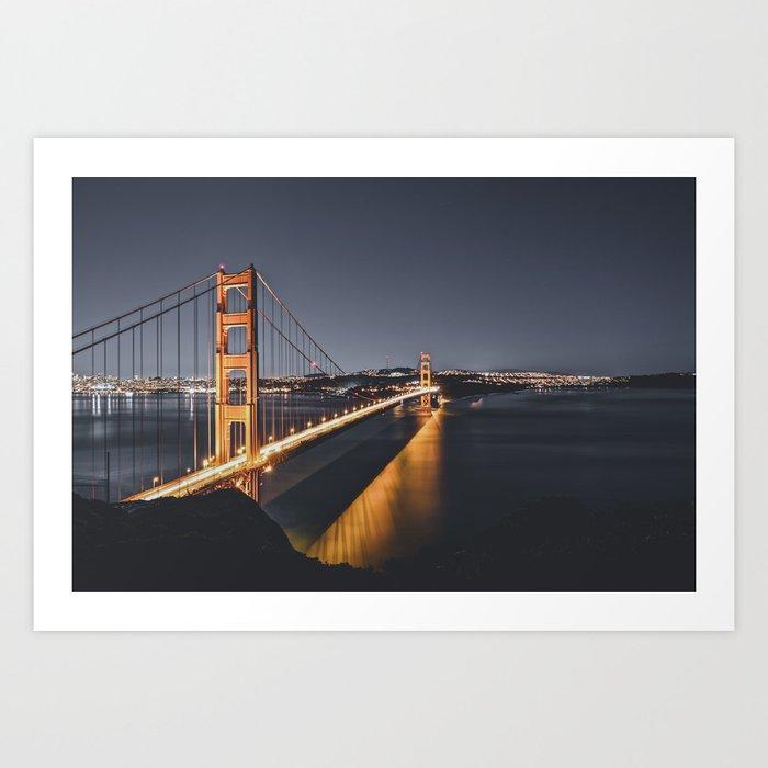 Golden Gate Glowing Art Print