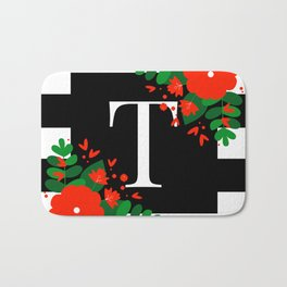 T - Monogram Black and White with Red Flowers Bath Mat