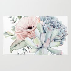 Pastel Succulents by Nature Magick Rug