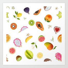 Tropical fruits summer mix Art Print