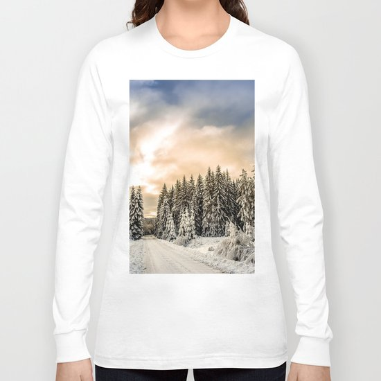 Winter Road #photography #society6 Long Sleeve T-shirt