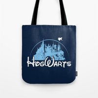 hogwarts Tote Bags featuring HOGWARTS by Bilqis