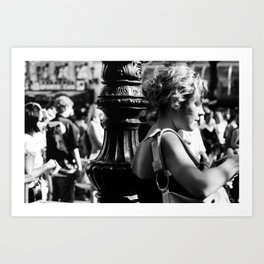 Girl with camera in Amsterdam Art Print