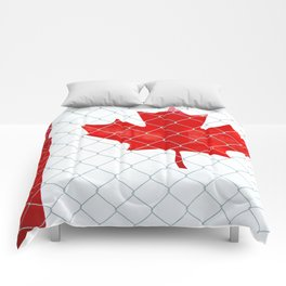 Rustic Canada Flag behind Chain Link Fence Comforters