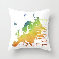 europe Throw Pillows featuring Europe by Stephanie Wittenburg