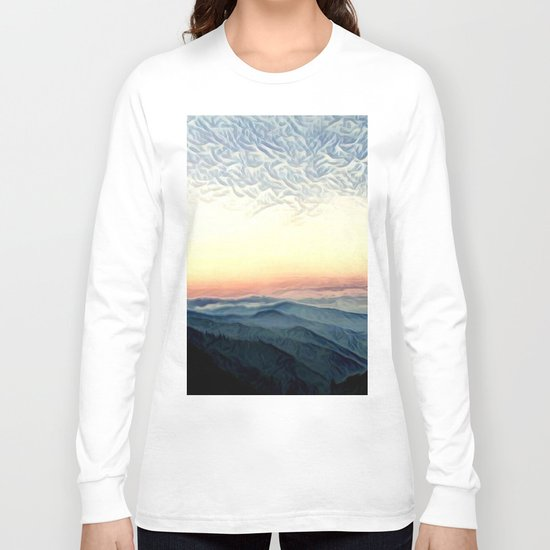 Pastel Sunset over Mountains (Hipster Landscape) Long Sleeve T-shirt