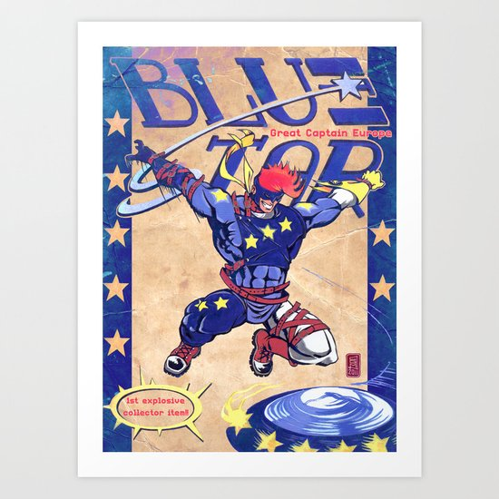 """Superheroes SF"" Blue Star - Great Captain Europe  Art Print"