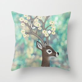 white tailed deer, white breasted nuthatches, & dogwood blossoms Throw Pillow