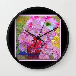 BLOOMING PINK ROSES IN RED VASE BLACK FRAME Wall Clock