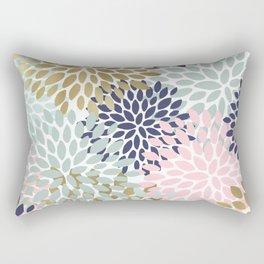 Floral Prints, Navy Blue, Aqua, Pink, Gold, Colourful Prints Rectangular Pillow