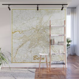 Bern Map Gold Wall Mural
