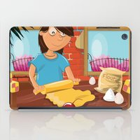 baking iPad Cases featuring Cartoon Woman Baking in her kitchen by Nick's Emporium Gallery